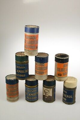9 x Edison BLUE AMBEROL Phonograph Records Cylinder Collection Set