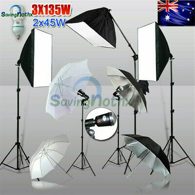 2025W Photo Studio Softbox Boom Kit+ Umbrella Flash Strobe Light Lighting Stand