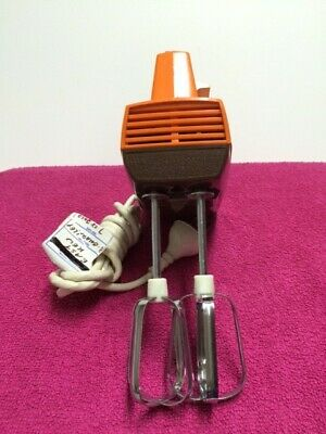 Funky orange Retro General Electric Hand Mixer, working