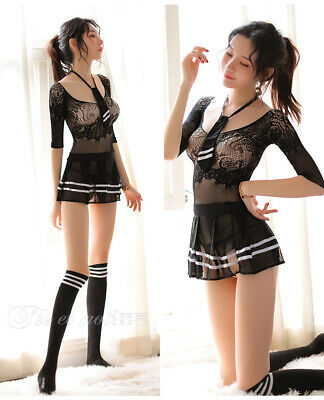 Sexy Women's School Girls Uniform Night Club Cosplay Costume Outfit Lingerie Set