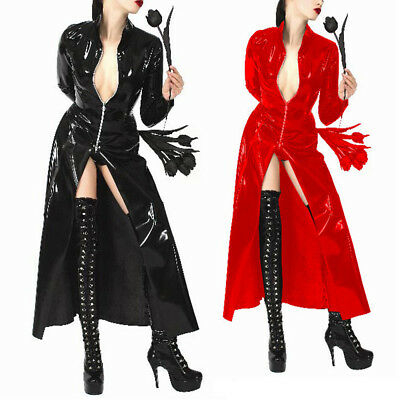 Donne Sexy Gothic Brevetto Cappotto Trench Cosplay Giacche Costume