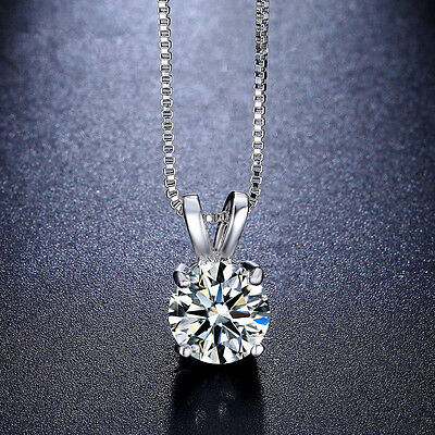 Women Charm Jewelry Crystal Silver Plated Pendant Necklace Chain Choker Fashion