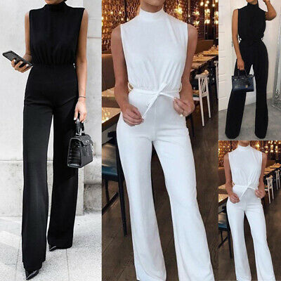 Women Summer Evening Party Playsuit Sleeveless Flared Bodycon Long Jumpsuit 8-16