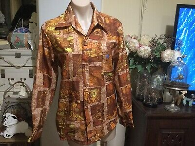 Vintage Retro 60's 70's Era Shirt Long Sleeve Pointy Collar Brown Tones Size 16