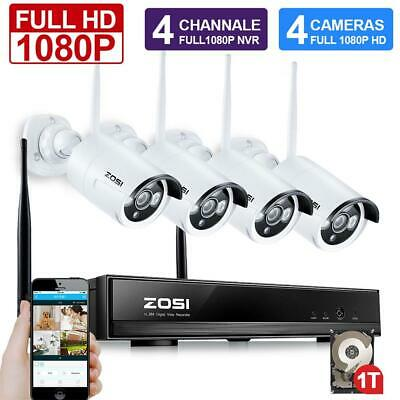 ZOSI 4CH 1080P NVR WiFi IP Outdoor Home Wireless CCTV Security Camera System 1TB