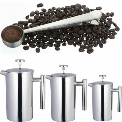 6/8/10 Cup Stainless Steel Cafetiere Coffee Filter Plunger Maker & Spoon Clip UK