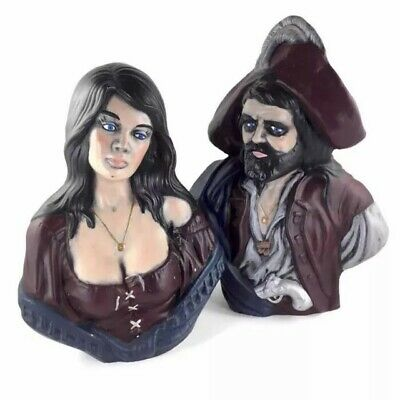 Pair Holland Mold Figurine Bust Pirate Gypsy Man and Woman Ceramic Statue