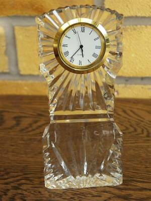 WEDGWOOD CRYSTAL MINIATURE GRANDFATHER MANTEL CLOCK. Working