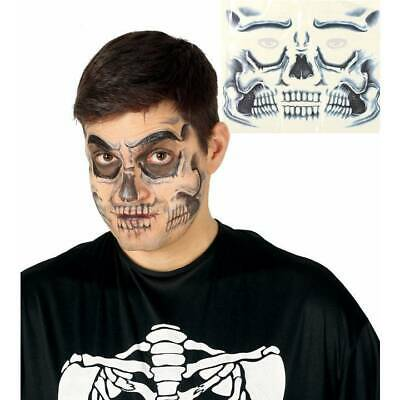 Skeleton Skull Face Temporary Tattoo Transfer Halloween Special Effects