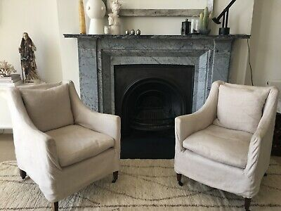 Georgian shaped pair of elegant Library Armchairs with grey linen slip covers