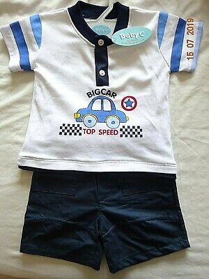 BABY BOY BIG CAR T-SHIRT TOP NAVY SHORTS OUTFIT 2 PIECE GIFT SET 6-12 Months