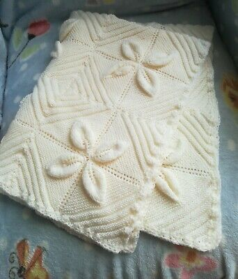 Cream Baby Hand Knitted Blanket Leaf Pattern Design Crib Pram Cot Shower Gift