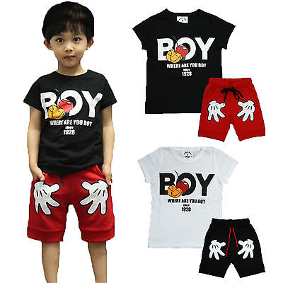 2Pcs Kids Boys Mickey Mouse Summer Tops Letter Print T-shirt + Shorts Outfit Set