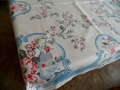 "Vintage Cotton Floral Printed Tablecloth 33"" x 36"" Great Condition Soft Hues"
