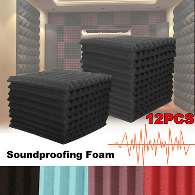 UK 48Pcs Acoustic Wall Panels Studio Sound Proofing Foam Wedge Treatments Tool