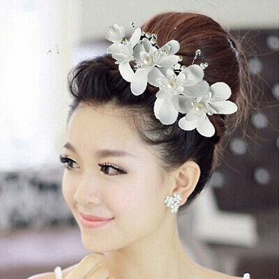 White Orchid flower crystals Pearls Beads Bridal Wedding Headpiece Hair Clip O