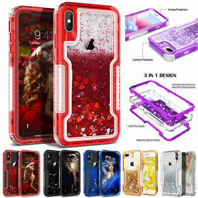 Glitter Liquid Quicksand Heavy Duty Cover Case for iPhone XS Max XR X 8 7 6 Plus