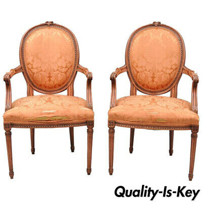 Pair of French Louis XVI Style Pink Distress Painted Oval Back Dining Arm Chairs
