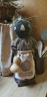 Primitive Pumpkin Doll On Wood Base With Gourd