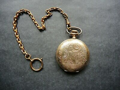 Antique GOLD PLATED EMPTY POCKET WATCH CASE for Parts Steampunk ART OMEGA Chain