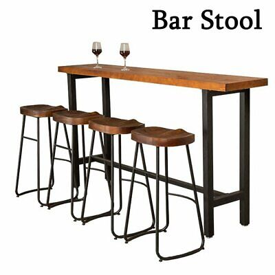 2/4X Bar Stool Industrial Rustic Metal Style Vintage Backless Counter High Chair