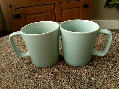 2 X M&S / marks and Spencer andante sage green square mugs