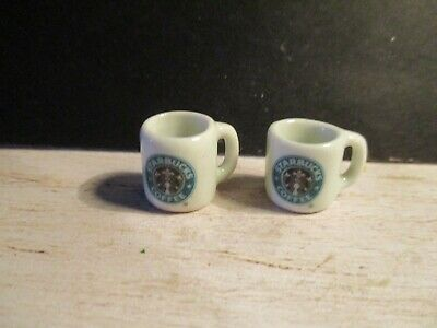 2 Dolls House Miniature Starbucks Coffee Mugs Bb