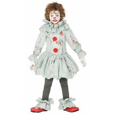Kids Pennywise IT Killer Clown Horror Costume Halloween Boys Girls Fancy Dress