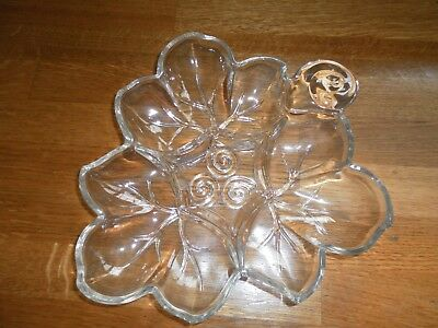 Vintage Clear Glass Clover Leaf Sectioned Dish Nuts,Candy,Relish,Dips Ect