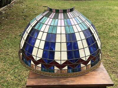 Antique Stained Glass Light Shade Very Rare Hand Made Pure Lead Frame Tiffany St