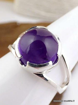 Solid 925 Silver Natural Amethyst Gemstone Fine Signet Gift Gift Men's Ring