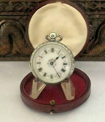 Antique  Pocket Watch Solid Silver Ornate Face And Case  In  Carry Case 1911