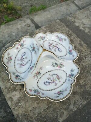 Grand Plat 3 compartiments Jean Pouyat PORCELAINE DE LIMOGES JP L Décor Paon