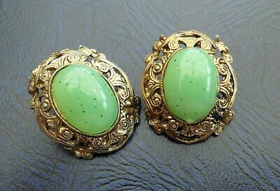 Vintage Jewellery Large Ornate Jade Green Glass Cabochon Clip on Earrings
