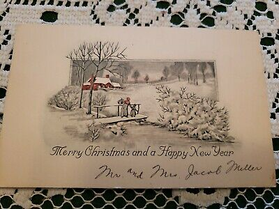Vintage Art Deco Era  Christmas Greeting Card Merry 1930 Signed Old Grandmothers