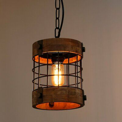 Wooden Cylinder Chandelier Antique Pendant Lighting Vintage Iron Ceiling Lamp