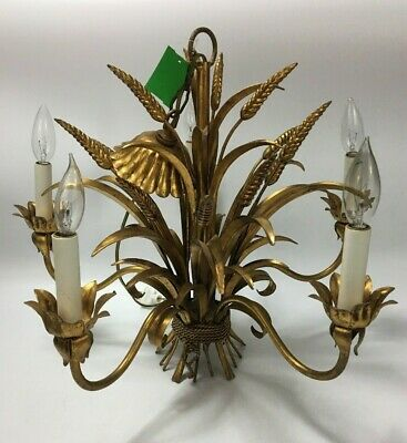 GORGEOUS Ornate Figural Brass Style Chandelier Fixture Wheat Motif 5 Arm Barley