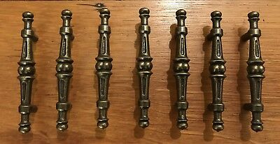 7 Handles Gothic Antique Brass Colonial Pull Cabinet Drawer Mid Century Vintage