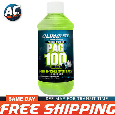 Premium Synthetic AC Refrigerant Oil PAG 100UV Vis 8oz. for R134a Systems
