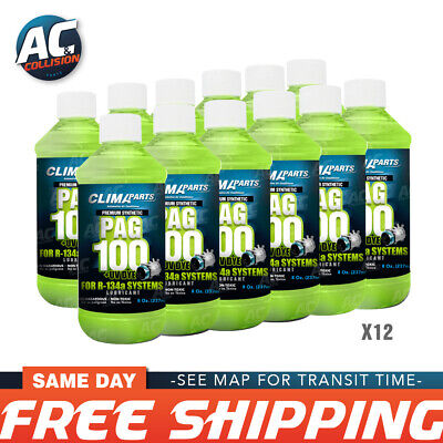 Premium Synthetic AC Refrigerant Oil 12 of PAG100-8UV Vis 8oz. for R134a Systems