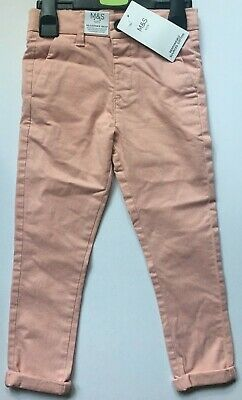 M&S Boys Light Pink Cotton Stretch Chinos Trousers  Age 2-3  3-4  4-5