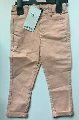 M&S Baby Boys Light Pink Cotton Stretch Chinos Trousers 12-18M & 18-24M