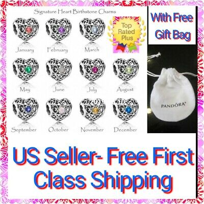 Authentic Pandora SIGNATURE HEART Birthstone Charm, S925 ALE with Pandora Pouch