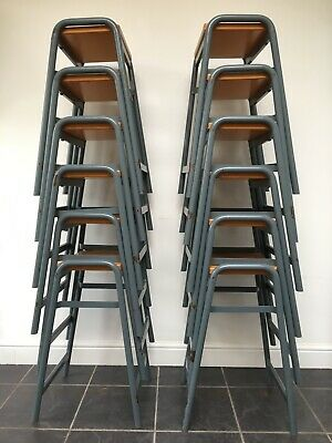 Vintage School Lab Stools grey stackable ideal in cafe restaurant - lot of 12