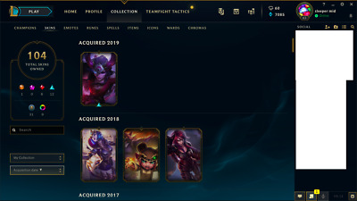 LEAGUE OF LEGENDS Account tons of skins Silver Kayle and Urf the