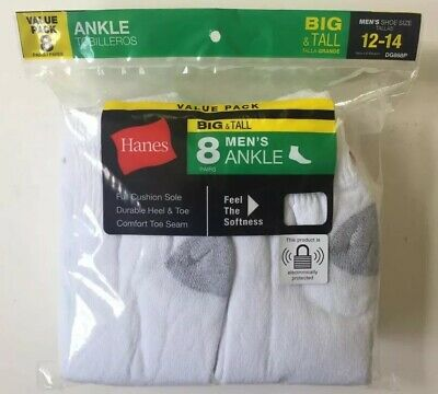 Hanes Men's White Ankle Socks 8 Pairs Size 12-14 Big & Tall NEW! FREE Shipping!