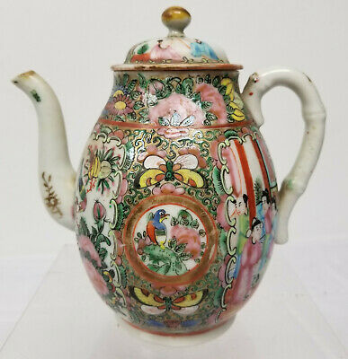 Antique Vintage Chinese Export Rose Medallion Teapot Birds 20th Century As Is