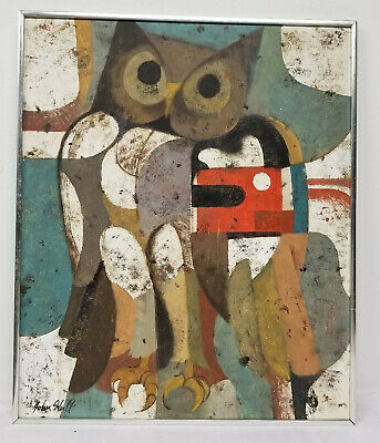 Antique Vintage MCM Acrylic or Oil on Board Abstract Owl Painting John Hull
