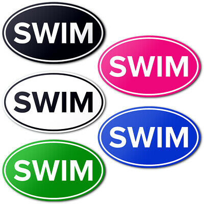 SWIM Euro Oval Bumper Sticker or Helmet Sticker D518 Laptop Cell Phone Swimming
