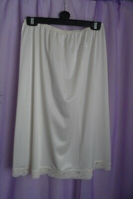 Vtg St Michael M&S Beautiful  White Waist Slip/Petticoat Uk 12/14 Used ##23##